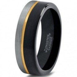 Вольфрамовое Матовое Обручальное кольцо 4мм с покрытием из желтого золота, со смещенной линией CJ713-Y-B-H-4-A