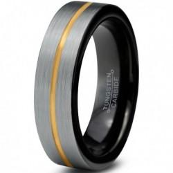 Вольфрамовое Матовое Обручальное кольцо 4мм(мужское, женское) с покрытием из желтого золота, линия по центру CJ714-Y-B-4-A