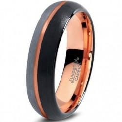 Вольфрамовое Матовое свадебное кольцо 4мм (мужское, женское) с покрытием 18к розовым золотом CJ715-B-H-4-A