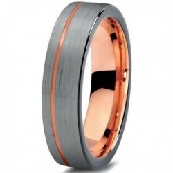 Вольфрамовое Матовое свадебное кольцо 4мм (мужское, женское) с покрытием 18к розовым золотом CJ709-B-4-A