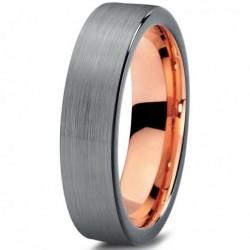 Вольфрамовое Матовое свадебное кольцо 4мм (мужское, женское) с покрытием 18к розовым золотом CJ703-B-4-A