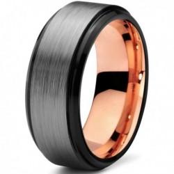 Вольфрамовое Матовое свадебное кольцо 8мм (мужское, женское) с покрытием 18к розовым золотом CJ700-B-8