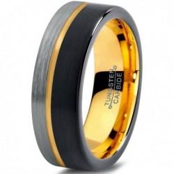 Вольфрамовое Матовое свадебное кольцо 7мм (мужское, женское) с покрытием из желтого золота CJ709-Y-B-H-7-A