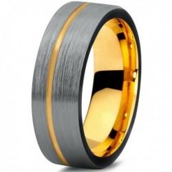 Вольфрамовое Матовое Обручальное (свадебное) кольцо 7мм (мужское, женское) с покрытием из желтого золота CJ709-Y-B-7-A