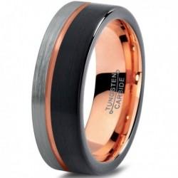 Вольфрамовое Матовое Обручальное (свадебное) кольцо 7мм (мужское, женское) с покрытием 18к розовым золотом CJ709-B-H-7-A