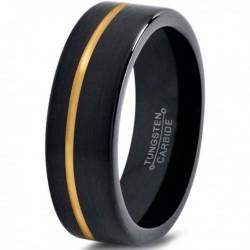 Вольфрамовое Матовое Обручальное кольцо 6мм (мужское, женское) с покрытием из желтого золота, со смещенной линией CJ713-Y-6-A
