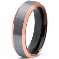 Вольфрамовое Матовое Обручальное кольцо 6мм (мужское, женское) с покрытием 18к розовым золотом CJ707-B-6-A