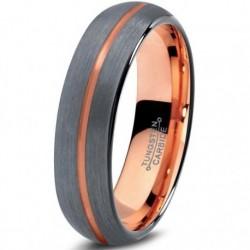 Вольфрамовое Матовое Обручальное (свадебное) кольцо 4мм , полоса в центре c покрытием 18к розовым золотом CJ716-B-4-A