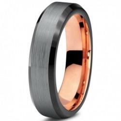 Вольфрамовое Матовое Обручальное (свадебное) кольцо 4мм, с покрытием 18к розовым золотом CJ708-B-4-A