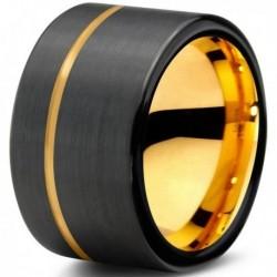 Вольфрамовое Черное Матовое Обручальное кольцо 12мм (мужское, женское) с покрытием из желтого золота CJ709-Y-12-A