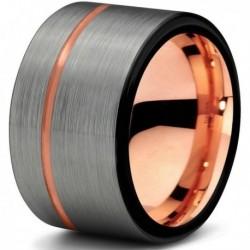 Вольфрамовое Матовое Обручальное (свадебное) кольцо 12мм с покрытием 18к розовым золотом CJ709-B-12-A