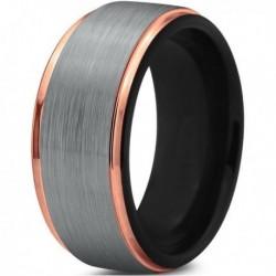 Вольфрамовое Матовое Обручальное (свадебное) кольцо 10мм (мужское, женское) с покрытием 18к розовым золотом CJ702-B-10-A