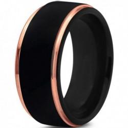 Вольфрамовое Черное Матовое Обручальное (свадебное) кольцо 10мм (мужское, женское) с покрытием 18к розовым золотом CJ702-10