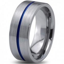 Вольфрамовое Матовое Обручальное (свадебное) кольцо 8мм (мужское, женское) с синей линией по центру