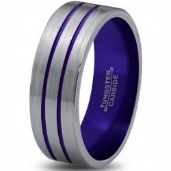 Вольфрамовое Матовое Обручальное (свадебное) кольцо 6мм (мужское, женское) с двойной фиолетовой линией CC8877-A
