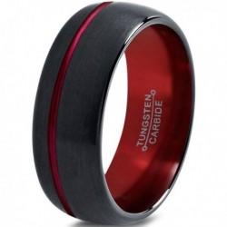 Вольфрамовое Матовое Обручальное (свадебное) кольцо 8мм (мужское, женское) черно красное со смещенной линией CJ8852-A