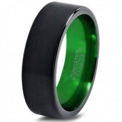 Вольфрамовое Матовое Обручальное (свадебное) кольцо 8мм (мужское, женское) черно зелёное CC968-C8-A