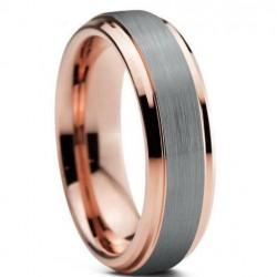Вольфрамовое Матовое Обручальное (свадебное) кольцо 6мм (мужское, женское) с покрытием 18к розовым золотом CJ373-B-A-6